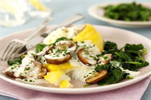 Baked Haddock with Mushroom and Creme Fraiche Sauce