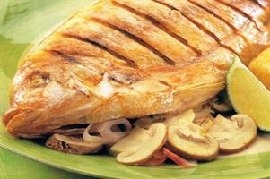 Barbecued Snapper with Mushroom Stuffing