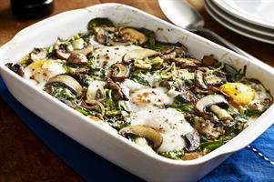 Mushroom, Spinach and Egg Breakfast Bake