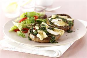 Mushrooms with Camembert & Watercress Pesto