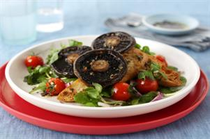 Pan-Grilled Mushroom Salad with Sea Salt and Garlic Toasts