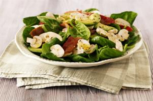 Spinach, Mushroom, Avocado and Bacon Salad