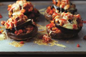 Aubergine and Mushroom Stacks