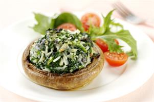 Cheese and Spinach Baked Mushrooms