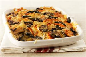 Creamy Two Potato and Mushroom Gratin
