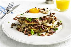 Mushroom, Bacon and Egg Pancake Stack