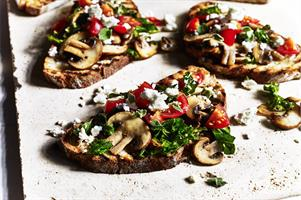 Mushroom, Kale and Feta Cheese Crostini