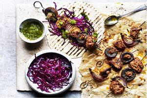 Mushroom and Lamb Skewers with Chimichuri Sauce
